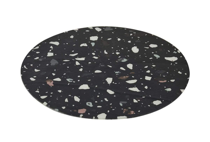 elevenpast GLASS PLACE MAT ROUND TERRAZZO BLACK S/2