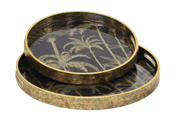 elevenpast GLASS TRAY MIRROR PALM