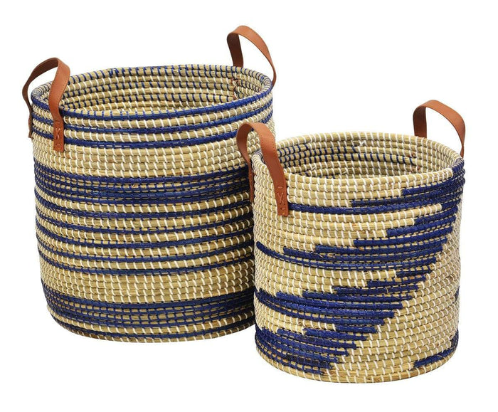 elevenpast Large / Blue Seagrass Basket