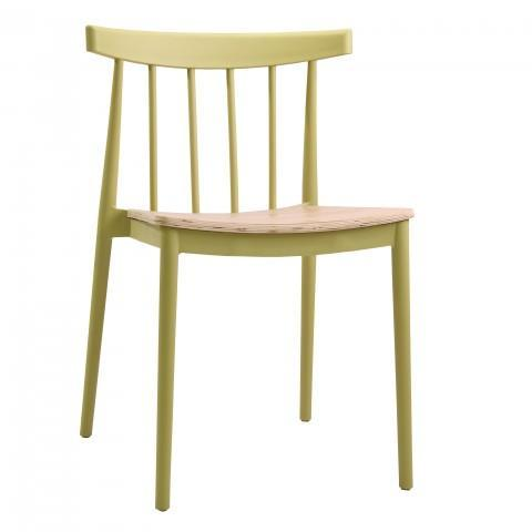 elevenpast Limegrass Tokyo Wood Seat Cafe Chair