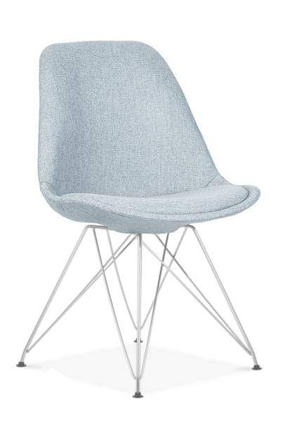elevenpast Pale Blue / Chrome Upholstered Eames Inspired Chair