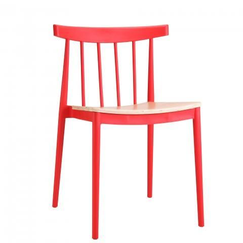 elevenpast Red Tokyo Wood Seat Cafe Chair