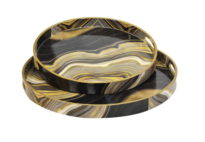 elevenpast Resin Tray Round Agate Wave