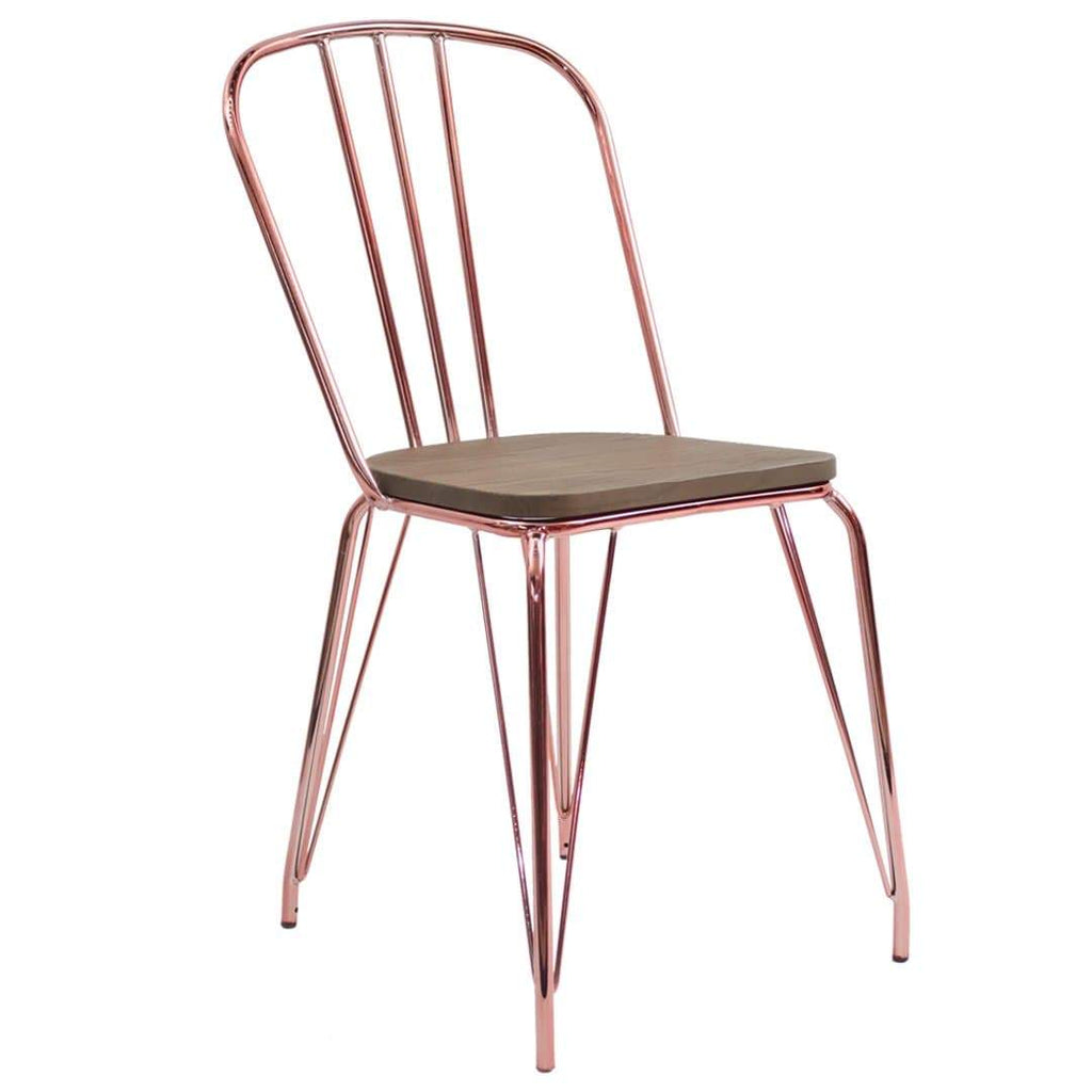 elevenpast Rose Gold Hairpin Wood Chair