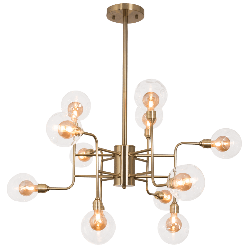 elevenpast Satin Brass Eytel 12 Light Sputnik Chandelier