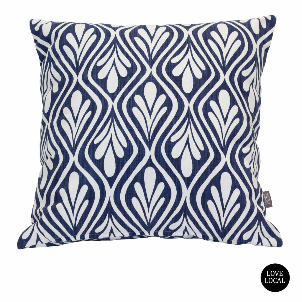 elevenpast Scatter Cushions Indigo Indigi Henna Leaves Cushion Cover