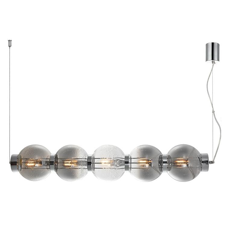elevenpast Smokey Glass with Chrome Pearl Glass Pendant Horizontal