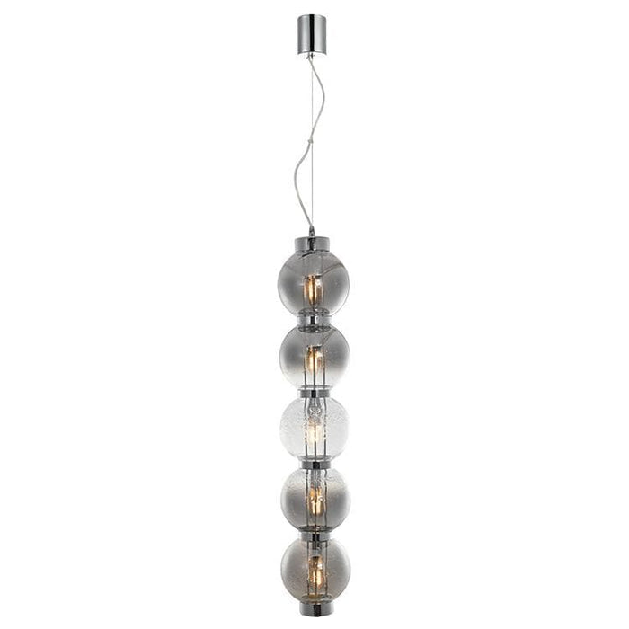 elevenpast Smokey Glass with Chrome Pearl Glass Pendant Vertical