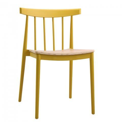 elevenpast Yellow Tokyo Wood Seat Cafe Chair