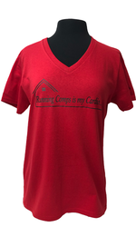 NEW KW-CardioTee Ladies Cotton Red V-Neck Tee with Black Heat Transfer