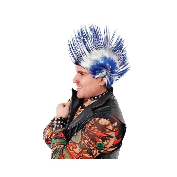 blue and white mohican wig - Party Props