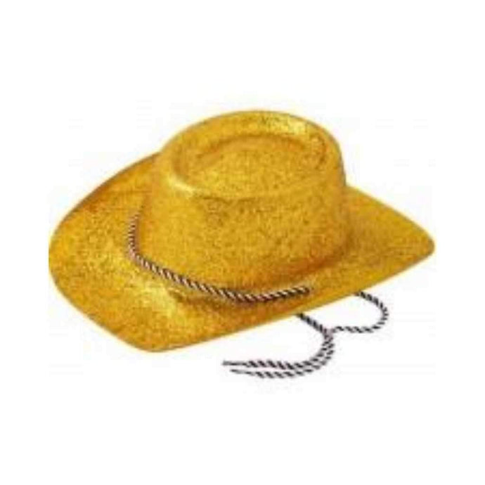 gold glitter cowboy hat - Party Propps