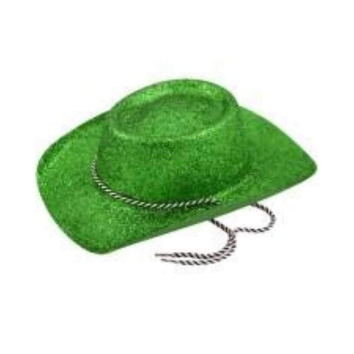 green glitter cowboy hat - Party Props
