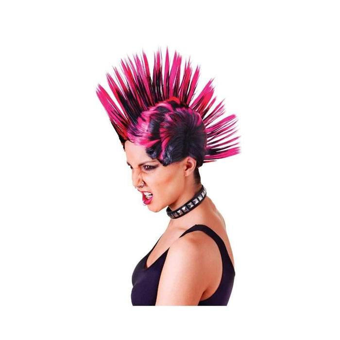 pink and black mohican wig - Party Props