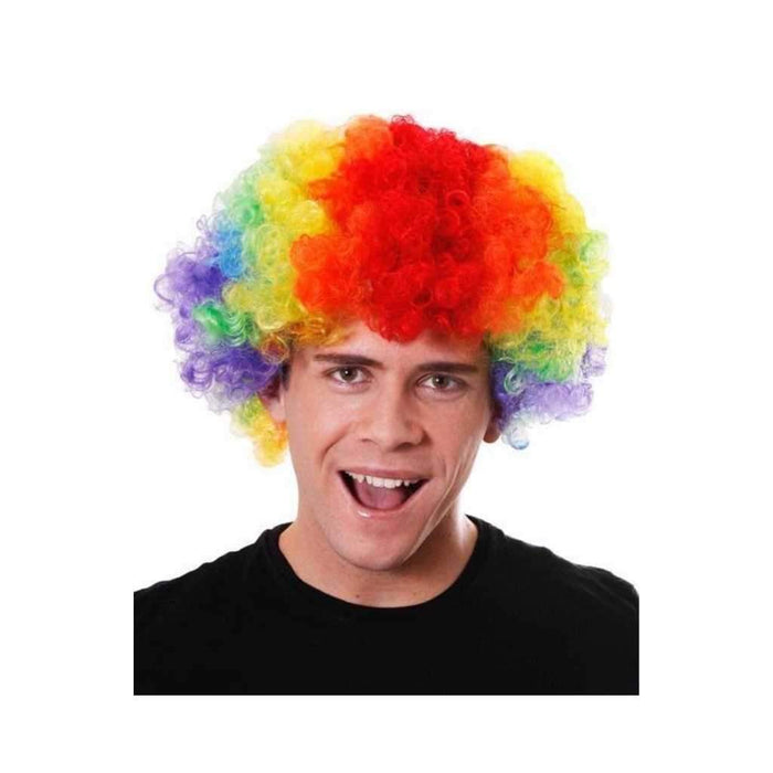 rainbow clown afro wig - Party Props