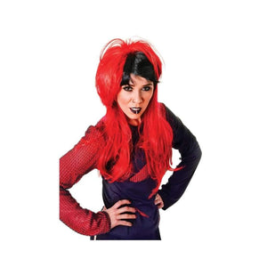 red and black long wig - Party Props