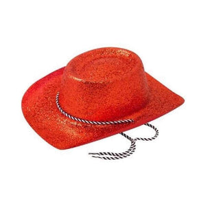 red glitter cowboy hat - Party Props