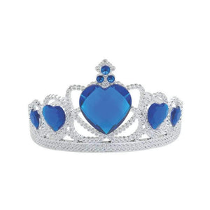 silver tiara with blue stones - Party Props