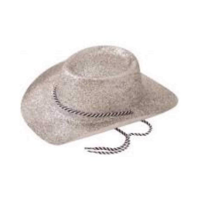 silver glitter cowboy hat - Party Props