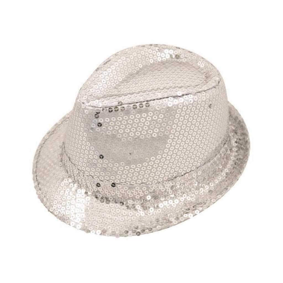 silver sequin gangster hat - Party Props