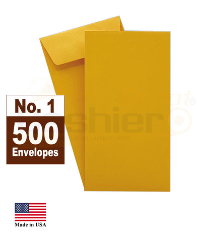 "Cashier Depot #1 Coin Envelopes, 2-1/4"" X 3-1/2"", Kraft, 24lb, Gum Flap, 500/Box"