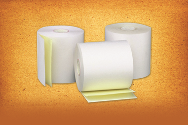 "Cashier Depot 3"" X 95' Carbonless 2-Ply White/Canary, 50 Rolls"