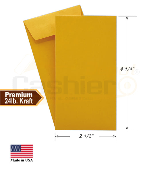 "Cashier Depot #3 Coin Envelopes, 2-1/2"" X 4-1/4"", Kraft, 24lb, Gum Flap, 500/Box"