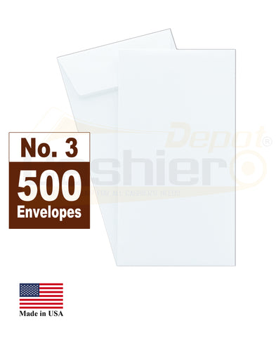 "Cashier Depot #3 Coin Envelopes, 2-1/2"" X 4-1/4"", White, 24lb, Gum Flap, 500/Box"