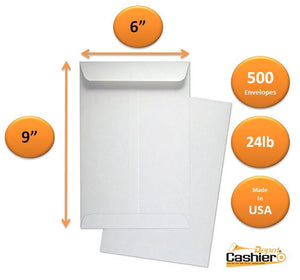 "Cashier Depot 6"" x 9"" Catalog (Open End) Envelopes, Premium 24lb. White, Gum Flap, 500/Box"