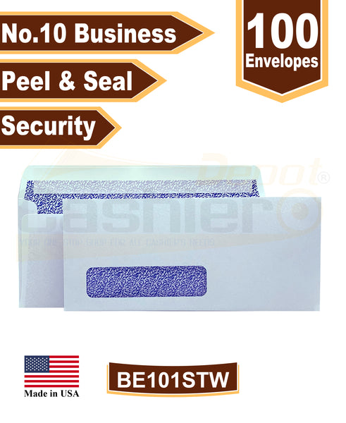 Cashier Depot No. 10 Peel & Seal Business Envelope, Left Window, 4 1/8 X 9 1/2, Security Tinted, 24lb. White, 100/Box