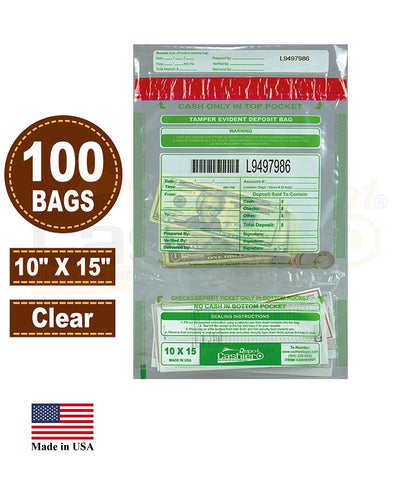 "Cashier Depot Tamper Evident Deposit Bags, 10"" x 15"" Clear, Twin Pockets, Serialized Numbering, Barcode, Press & Seal Void Closure Tape, 100 Bags"
