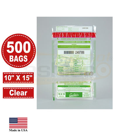 "Cashier Depot Tamper Evident Deposit Bags, 10"" x 15"" Clear, Twin Pockets, Serialized Numbering, Barcode, Press & Seal Void Closure Tape, 500 Bags"