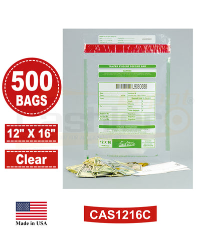 "Cashier Depot Tamper Evident Deposit Bags, 12"" x 16"" Clear, Serialized Numbering, Barcode, Press & Seal Void Closure Tape (500 Bags)"