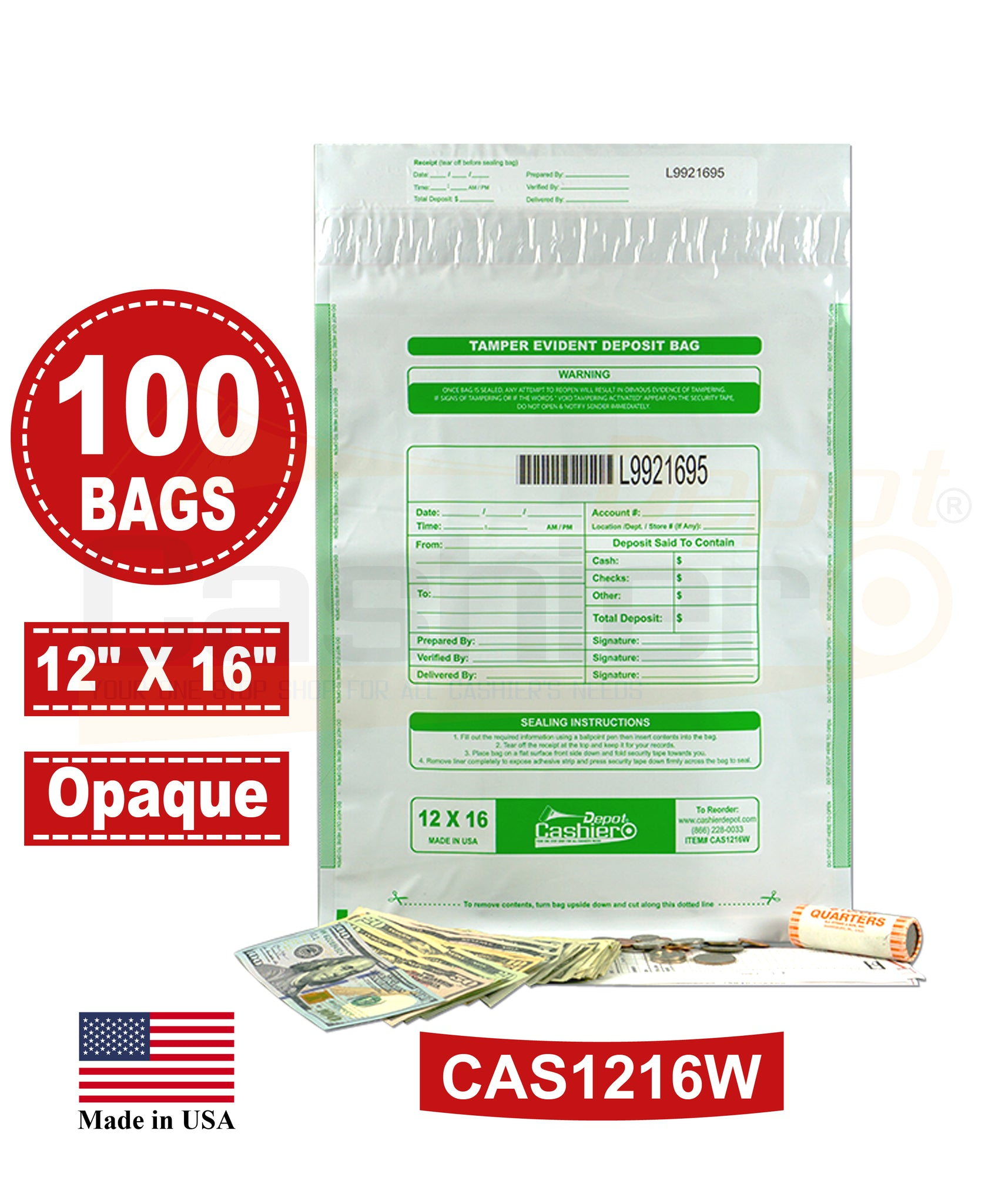 "Cashier Depot Tamper Evident Deposit Bags, 12"" x 16"" White, Serialized Numbering, Barcode, Press & Seal Void Closure Tape (100 Bags)"