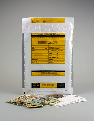 "Cashier Depot Tamper Evident Deposit Bags, 12"" x 16"" White, Printed in Kraft, Serialized Numbering, Barcode, Press & Seal Void Closure Tape (500 Bags)"