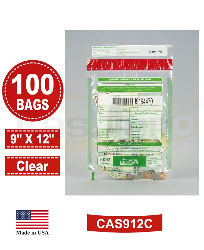 "Cashier Depot Tamper Evident Deposit Bags, 9"" x 12"" Clear, Serialized Numbering, Barcode, Press & Seal Void Closure Tape (100 Bags)"