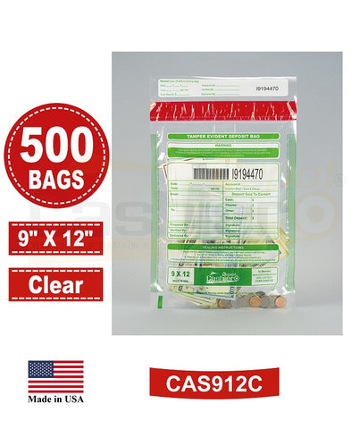 "Cashier Depot Tamper Evident Deposit Bags, 9"" x 12"" Clear, Serialized Numbering, Barcode, Press & Seal Void Closure Tape (500 Bags)"