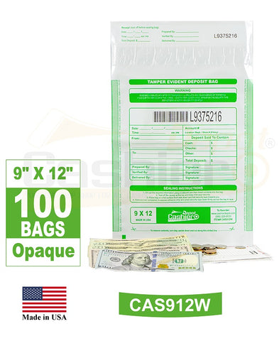"Cashier Depot Tamper Evident Deposit Bags, 9"" x 12"" White, Serialized Numbering, Barcode, Press & Seal Void Closure Tape (100 Bags)"