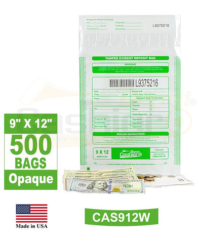 "Cashier Depot Tamper Evident Deposit Bags, 9"" x 12"" White, Serialized Numbering, Barcode, Press & Seal Void Closure Tape (500 Bags)"