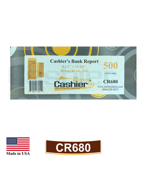 "Cashier Depot CR680 Cashier's Bank Report Envelopes, 4 1/2"" x 10 3/8"", Brown Kraft, 24lb., 500/Box"