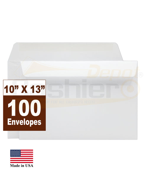 "Cashier Depot 10"" x 13"" Booklet Envelopes, Premium 28lb. White, Gum Flap, 100/Box"