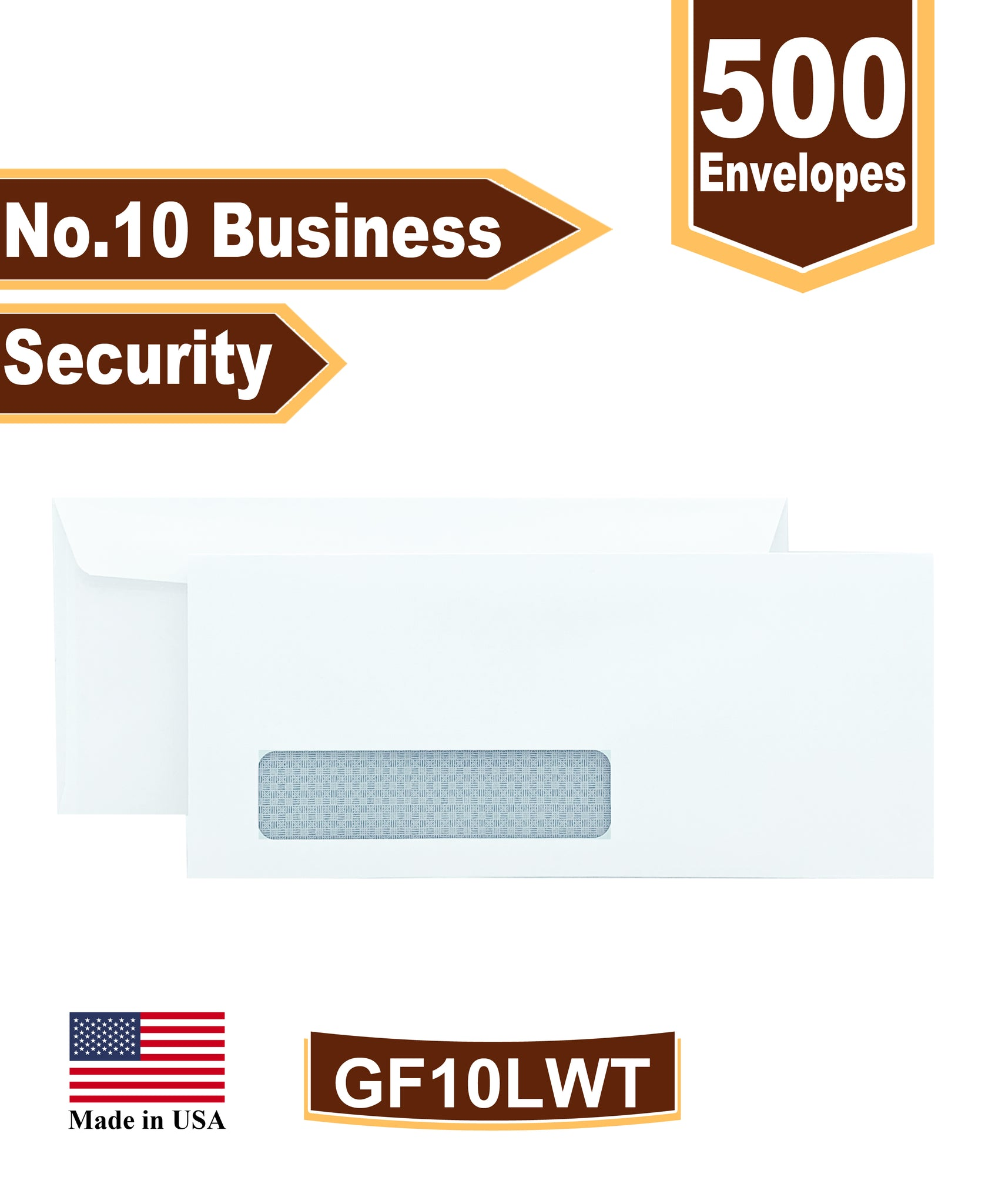 Cashier Depot No. 10 Business Envelope, Left Window, 4 1/8 X 9 1/2, Security Tinted, 24lb White, 500/Box
