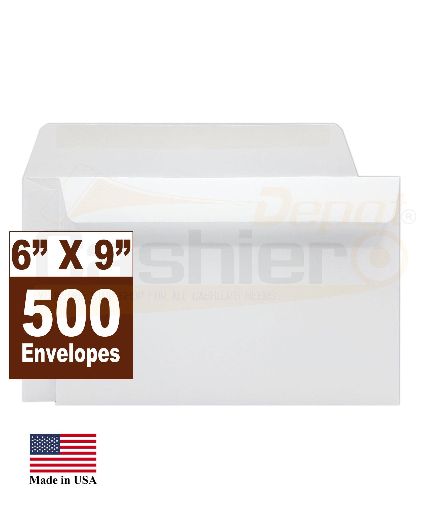 "Cashier Depot 6"" x 9"" Booklet Envelopes, Premium 24lb. White, Gum Flap, 500/Box"