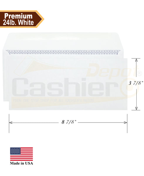 "Cashier Depot No. 9 Business Envelope, 3 7/8"" X 8 7/8"" , Security Tinted, 24lb, White, 500/Box"