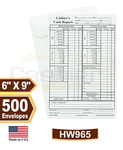 "Cashier Depot HW965 Cashier's Cash Report Envelopes, 6"" x 9"",Open End, Premium 28lb White, Gum Flap, 500/Box"