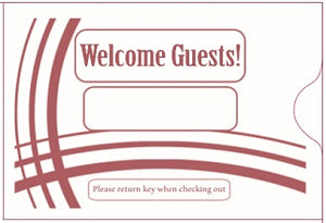 "Hotel/ Motel ""Welcome Guest"" Keycard Sleeve, 2 3/8"" X 3 1/2"", Printed in Burgundy, Premium 24lb. Paper, 500/Box (KCB238B)"