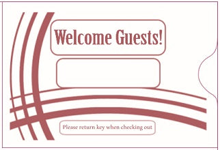 "Cashier Depot ""Welcome Guest"" Keycard Sleeve, 2 3/8"" X 3 1/2"", Burgundy, 24lb., 500/Box"