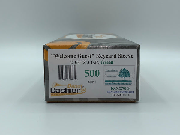 "Cashier Depot ""Welcome Guest"" Keycard Sleeve, 2 3/8"" X 3 1/2"", Green, 24lb., 500/Box"