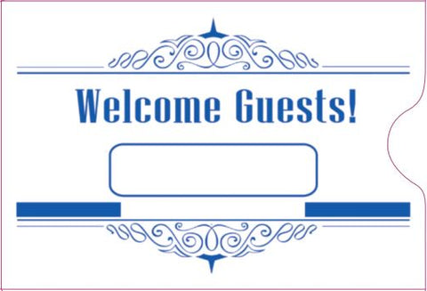 "Cashier Depot ""Welcome Guest"" Keycard Sleeve, 2 3/8"" X 3 1/2"", Blue, 24lb., 500/Box"
