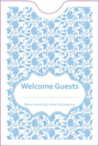"Cashier Depot ""Welcome Guest"" Keycard Sleeve, Light Blue, 24lb, 2 3/8"" X 3 1/2"" 500/Box"